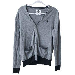 Express Button Pocket Front Cardigan Grey/Black M